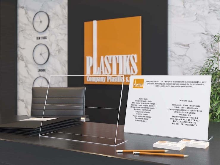 Plastové stojany, Reklamné stojany, Plexi stojany na pult, stojany na cenovky